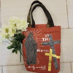 Andy warhol cross canvas tote bag